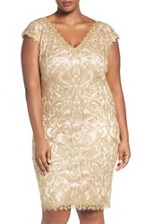 Tadashi Shoji Plus Size Women's V Neck Illusion Lace Sheath Dress