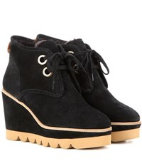 See By Chloe Suede Wedge Ankle Boots Black