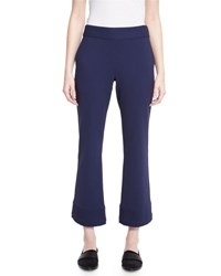 Jason Wu Bi Stretch Flare Leg Cropped Pants Marine