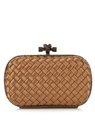 Bottega Veneta Knot Satin And Water Snake Clutch Gold