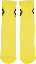 Marcelo Burlon Yellow And Black Short Cruz Socks