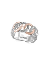 Effy Diamond Sterling Silver And 14K Rose Gold Loop Ring
