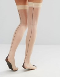 Jonathan Aston Contrast Seam And Heel Hold Ups Nude Black Beige