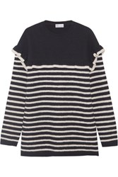 Red Valentino Redvalentino Ruffled Striped Wool Felt Sweater Navy