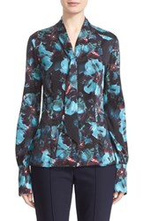 St. John Women's Collection 'Peacock Floral' Stretch Silk Bow Blouse Peacock Multi