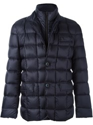 Fay Double Collar Padded Jacket Blue