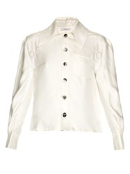 Thomas Tait Oversized Collar Silk Satin Shirt Ivory