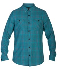 Hurley Men's Long Sleeve Landon Plaid Shirt Mid Turquo