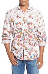Men's Bugatchi Classic Fit Long Sleeve Tropical Flower Grid Print Sport Shirt