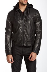 Rogue Faux Leather Jacket With Faux Fur Lining Black