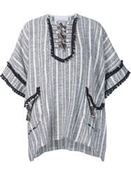 Derek Lam 10 Crosby Woven Stripe Tunic Top Blue