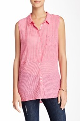 Candc California Electric Gingham Sleeveless Tunic Shirt Red
