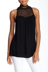 On Twelfth Crochet Lace Yoke Blouse Black
