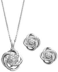 Macy's Diamond Jewelry Set Sterling Silver Diamond Knot Pendant And Earrings Set 1 4 Ct. T.W.