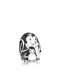 Pandora Design Pandora Charm Sterling Silver And Enamel Penguin Family Moments Collection Black Silver