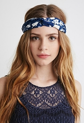 Forever 21 Twisted Floral Headwrap Navy Cream