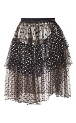 Rodarte Polka Dot Tiered Wrap Skirt Black