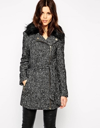 Lipsy Tweed Coat With Contrast Faux Fur Collar