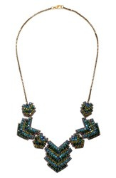 Suzanna Dai Women's 'Zocalo' Frontal Necklace Olive Teal