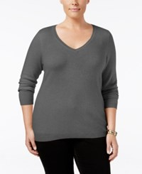 Charter Club Plus Size Cashmere V Neck Sweater Only At Macy's Heather Cinder