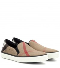 Burberry Gauden Check Leather Trimmed Slip On Sneakers Beige