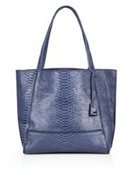 Botkier New York Soho Zipper Trimmed Python Embossed Leather Tote Blue
