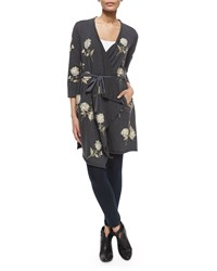 Johnny Was Margarit Flower Embroidered Waist Tie Cardigan Women's Charcoal