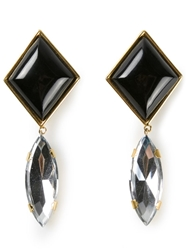 Yves Saint Laurent Vintage Geometric Earrings Black