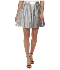 Sam Edelman Silver Pleated Perforated Pu Skirt Silver Women's Skirt