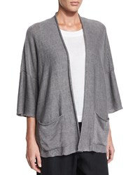 Eskandar 3 4 Sleeve Knit Linen Cardigan Light Elephant Elephantlight