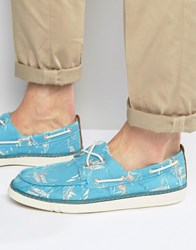 Timberland Hookset Print Boat Shoes Blue