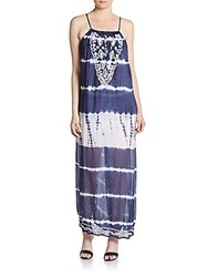 Saks Fifth Avenue Tie Dye Maxi Dress Navy White