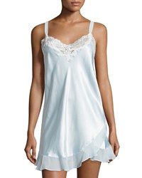 Oscar De La Renta Always A Bride Lace Trim Nightie Blue Stblu