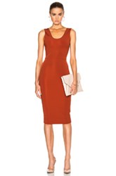 Victoria Beckham Dense Rib Tank Fitted Dress In Orange