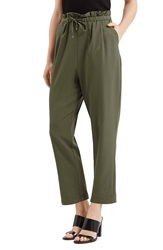 Topshop Drawstring Crop Trousers Olive