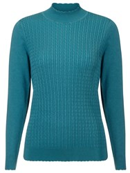 Eastex Cable Wave Turtleneck Sweater Blue