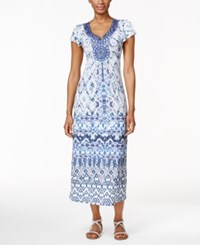 Styleandco. Style And Co. Petite Printed Maxi Dress Only At Macy's Splashing Falls