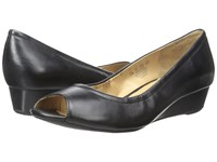 Naturalizer Contrast Black Leather Women's Wedge Shoes