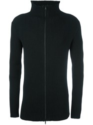 Ann Demeulemeester Long Ribbed Zipped Cardigan Black