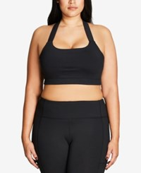 City Chic Trendy Plus Size Active Crop Top Black