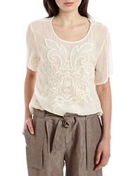 424 Fifth Petite Embroidered Short Sleeved Top Pearled Ivory