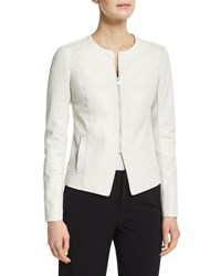 Vince Tailored Slim Fit Leather Jacket Winter White