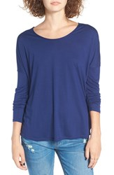 Rvca Women's 'Sutherland' Cutout Long Sleeve Tee Ink Blue