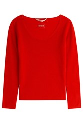 81 Hours By Dear Cashmere Cashmere Scoop Neck Pullover Red