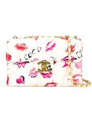 Chanel Vintage Jumbo Printed Crossbody Bag White