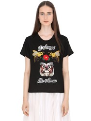 Gucci Embroidered Print Linen Jersey T Shirt