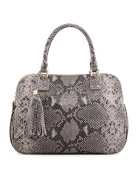 Thea Snake Print Triple Zip Tote Bag Gray Opal Tory Burch Grey Opal