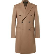 Kingsman Slim Fit Double Breasted Melton Wool Overcoat Camel
