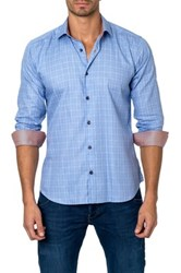 Jared Lang Long Sleeve Stripe Semi Fitted Shirt Blue