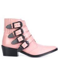 Toga Buckled Strap Ankle Boots Pink And Purple